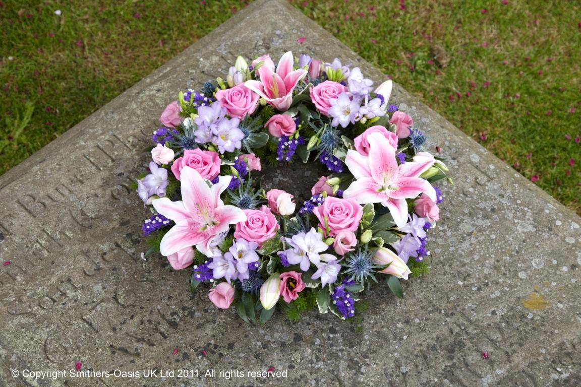 Pastel Wreath Funeral Flowers Leeds