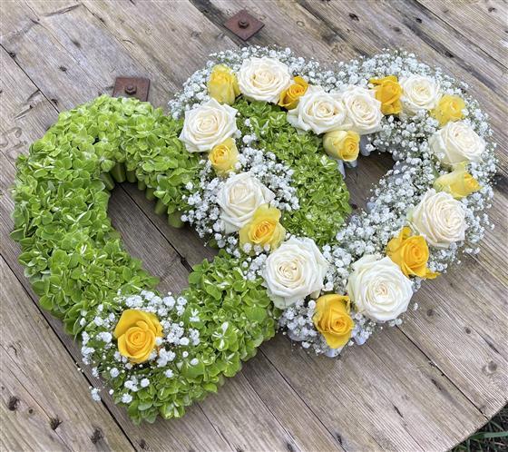 Yellow Double Heart Funeral Flowers Leeds